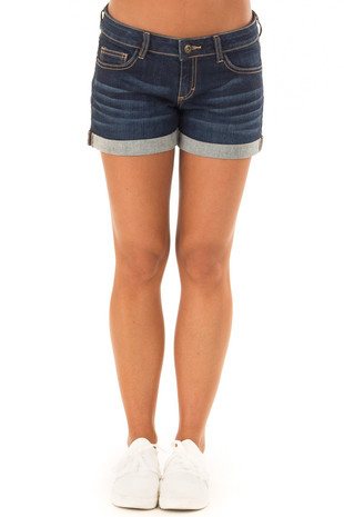 Dark Wash Denim Low Rise Cuffed Shorts front