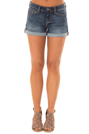 Dark Wash Denim Mid Rise Shorts with Cuffed Hem front