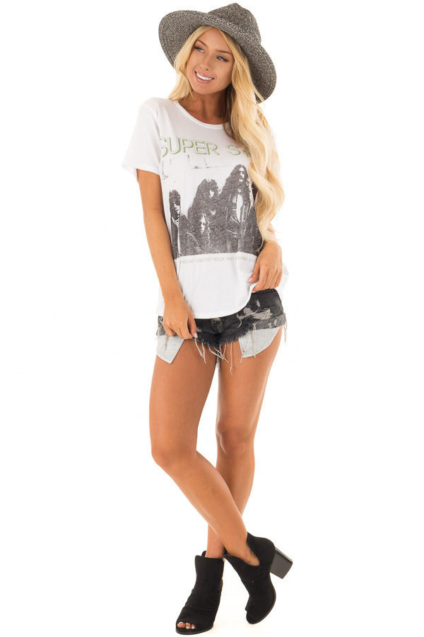 White 'Super Star' Graphic Band Tee Shirt front full body