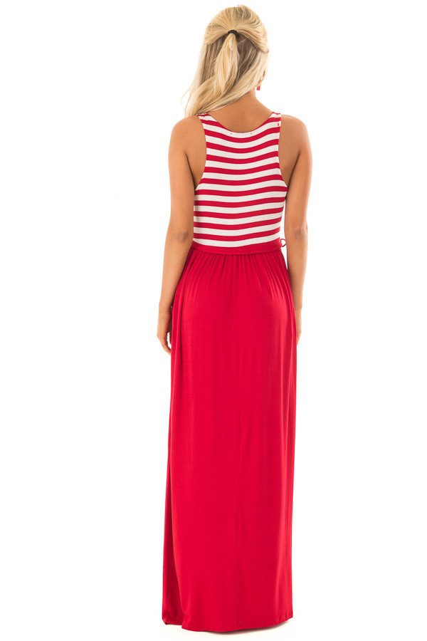 Cherry Red Maxi Dress with Striped Color Block and Pockets back full body