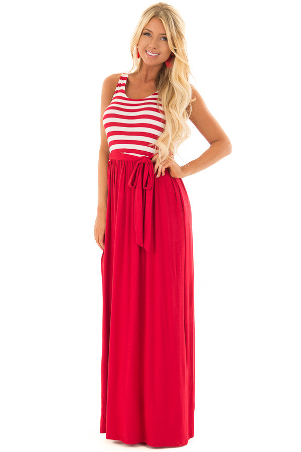 Cherry Red Maxi Dress with Striped Color Block and Pockets front full body