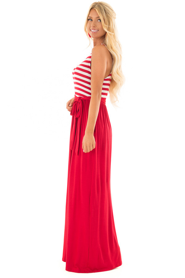 Cherry Red Maxi Dress with Striped Color Block and Pockets side full body