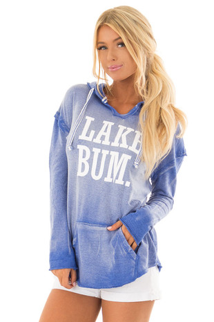 Washed Navy Hoodie with White 'LAKE BUM' Print front closeup