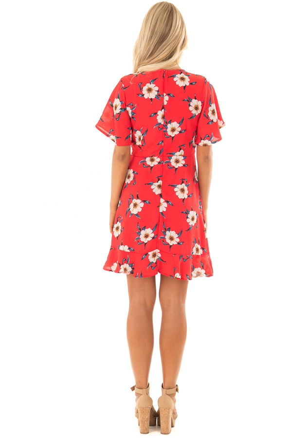 Scarlet Floral Print Dress with Ruffle Details back full body