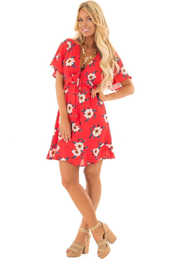 Scarlet Floral Print Dress with Ruffle Details front full body