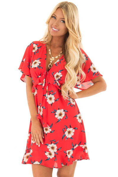 Scarlet Floral Print Dress with Ruffle Details front closeup