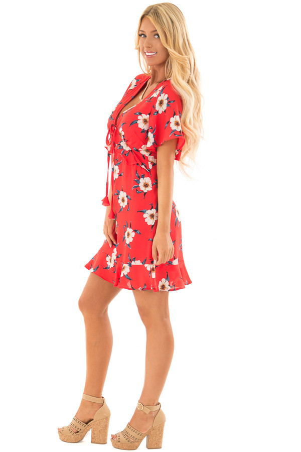 Scarlet Floral Print Dress with Ruffle Details side full body