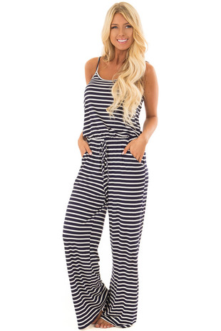 Navy Striped Spaghetti Strap Jumpsuit front full body