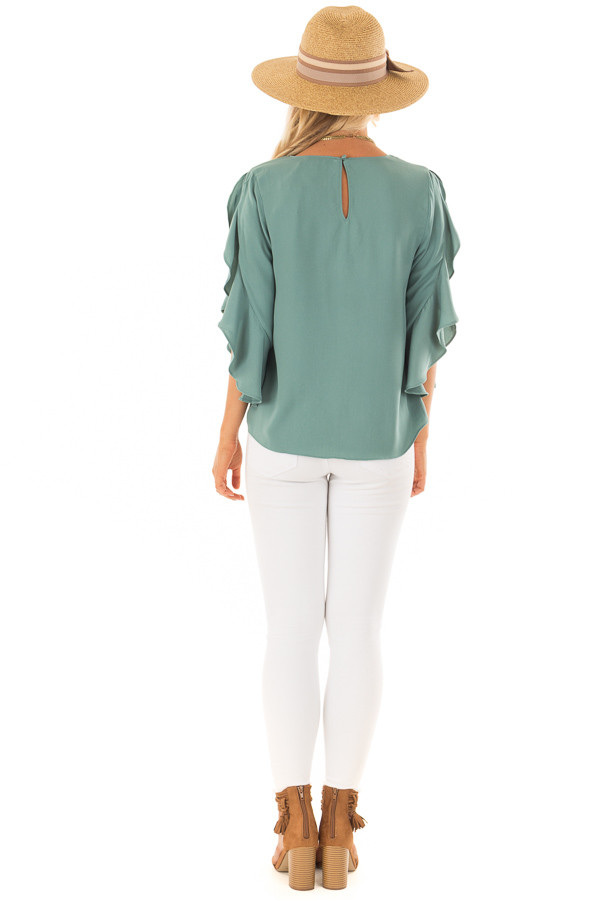 Moss Green Open Sleeve Blouse with Ruffle Detail back full body