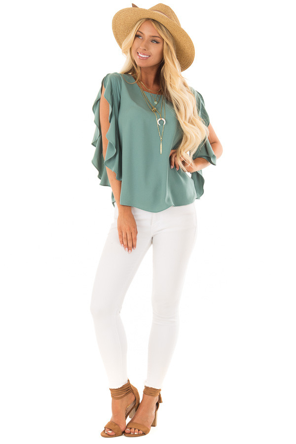 Moss Green Open Sleeve Blouse with Ruffle Detail front full body