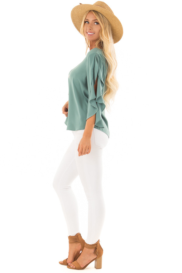 Moss Green Open Sleeve Blouse with Ruffle Detail side full body