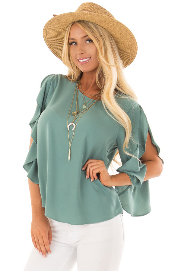 Moss Green Open Sleeve Blouse with Ruffle Detail front closeup