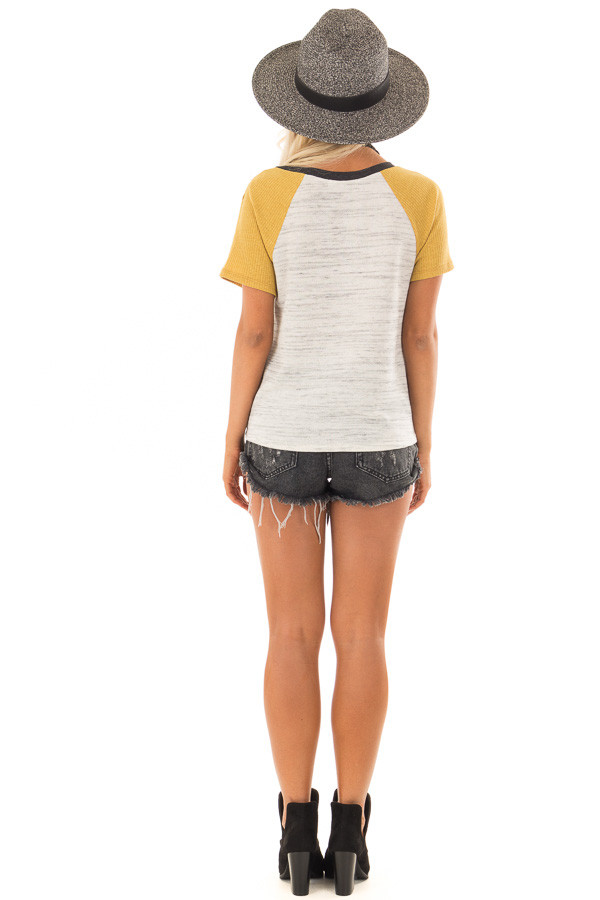 Grey And Mustard Tee with Front Tie Detail back full body