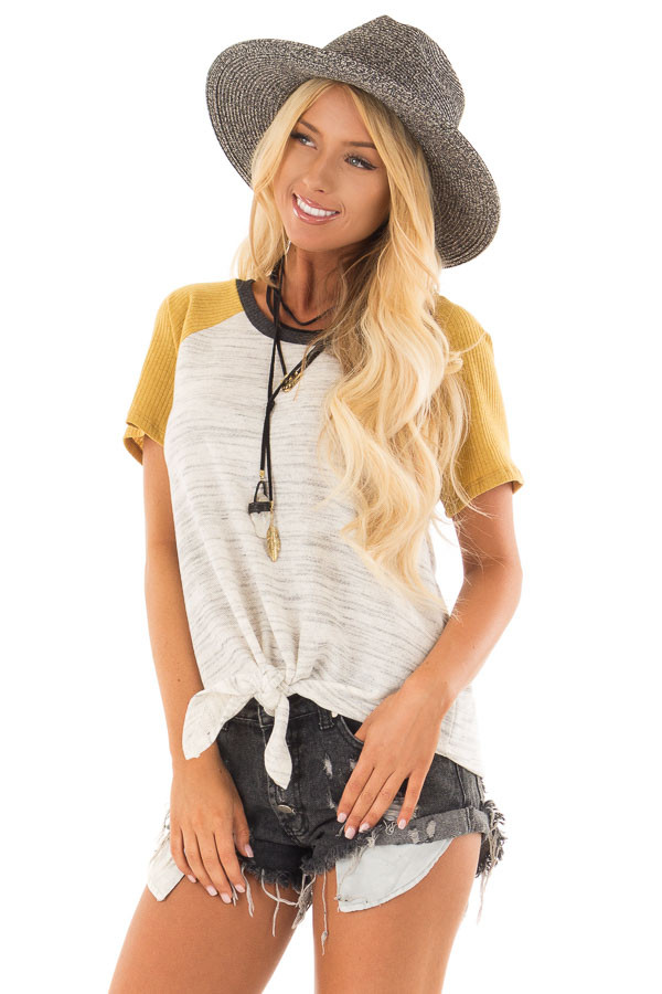 Grey And Mustard Tee with Front Tie Detail front closeup