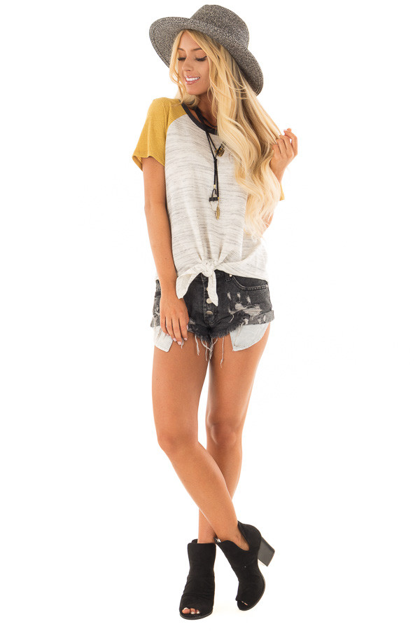 Grey And Mustard Tee with Front Tie Detail front full body