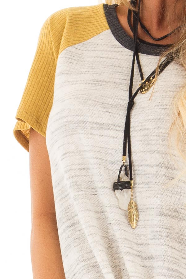 Grey And Mustard Tee with Front Tie Detail front detail