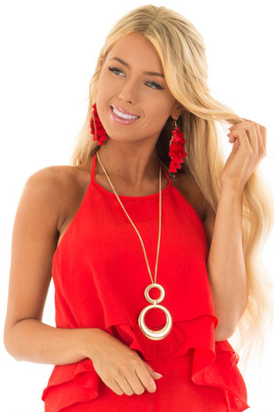Cherry Red Tiered Tassel Earrings