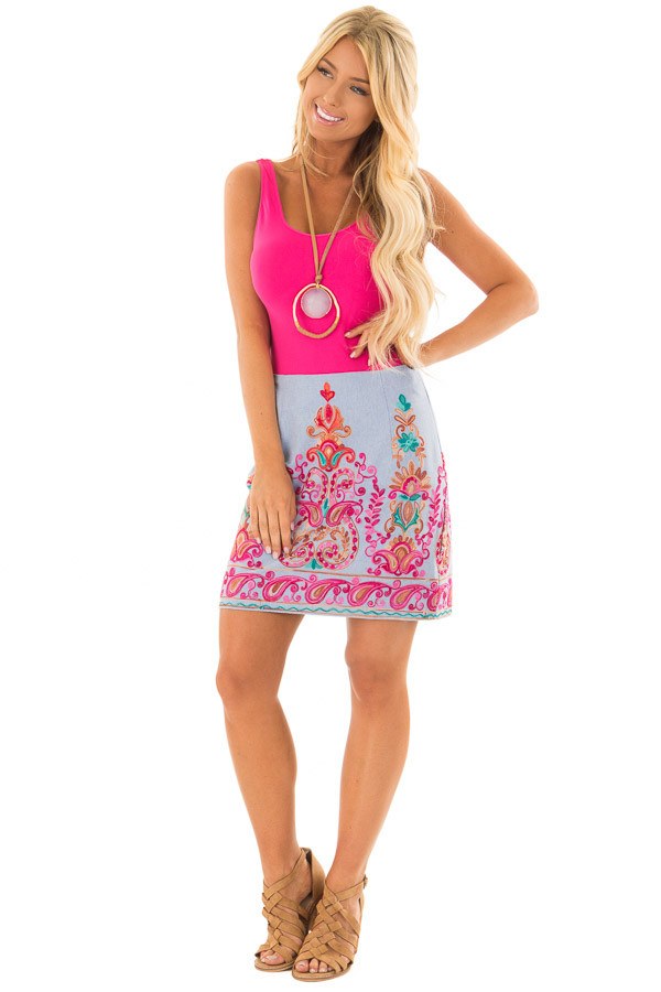 Light Denim Skirt with Embroidery Detail side full body