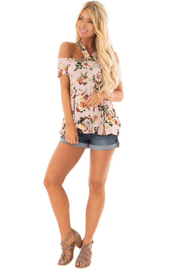 Blush Floral Print Halter Top with Open Shoulder front full body