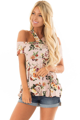 Blush Floral Print Halter Top with Open Shoulder front close up