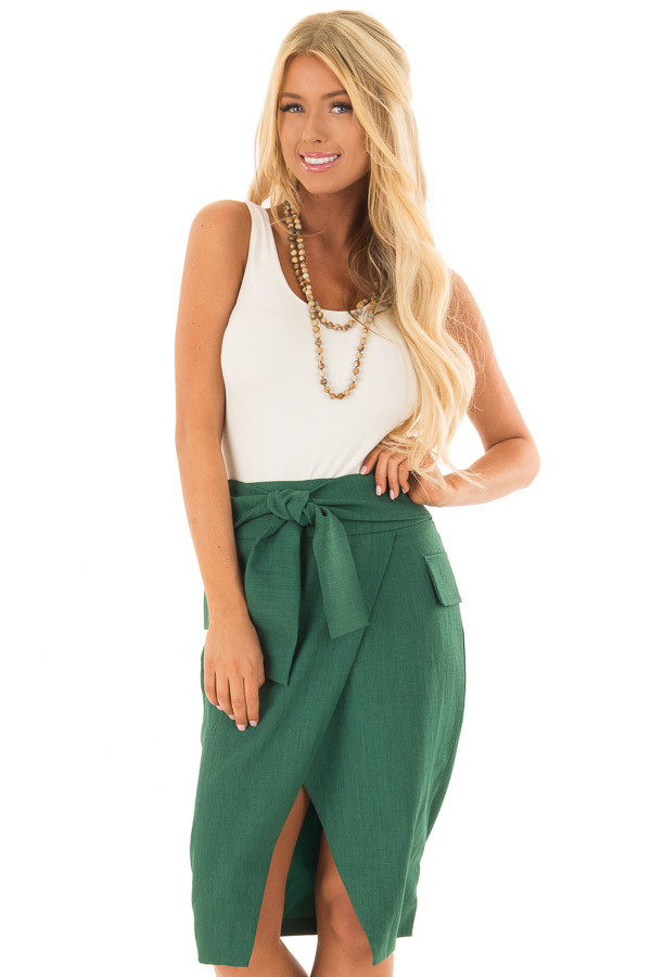 Emerald Fitted Pencil Skirt with Waist Tie front close up