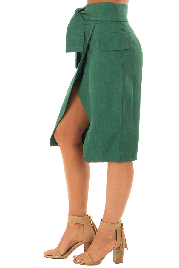Emerald Fitted Pencil Skirt with Waist Tie side view