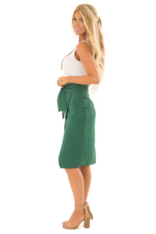 Emerald Fitted Pencil Skirt with Waist Tie side full body