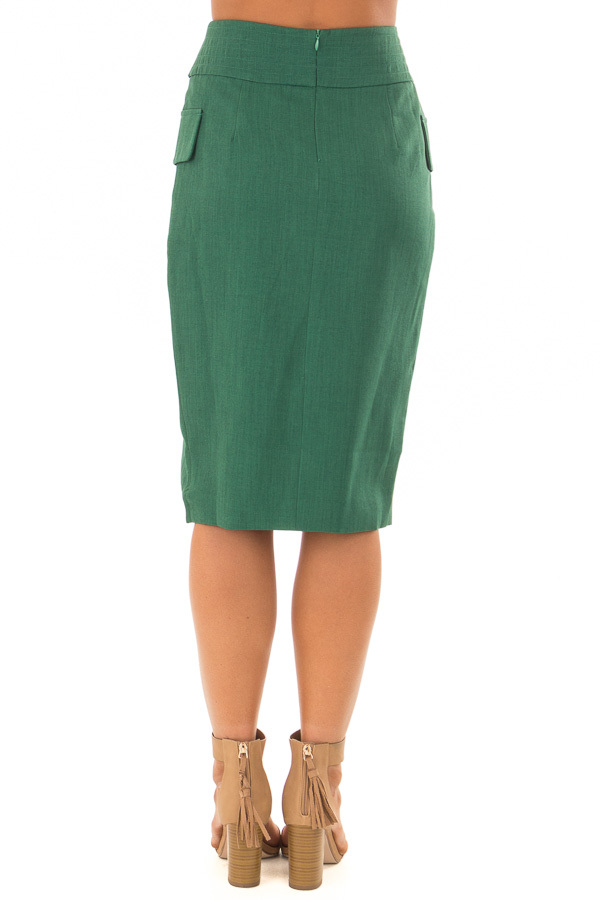 Emerald Fitted Pencil Skirt with Waist Tie back view