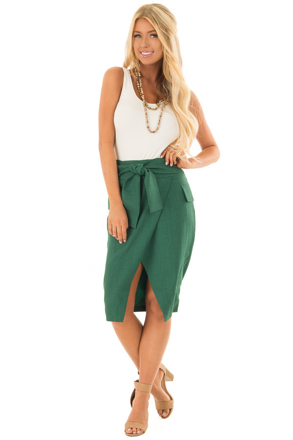 Emerald Fitted Pencil Skirt with Waist Tie front full body