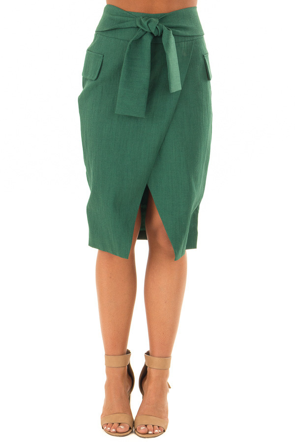Emerald Fitted Pencil Skirt with Waist Tie front view