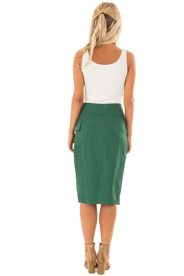 Emerald Fitted Pencil Skirt with Waist Tie back full body