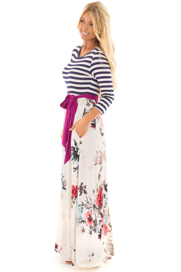 Ivory Floral 3/4 Sleeve Maxi Dress with Navy Striped Top side full body
