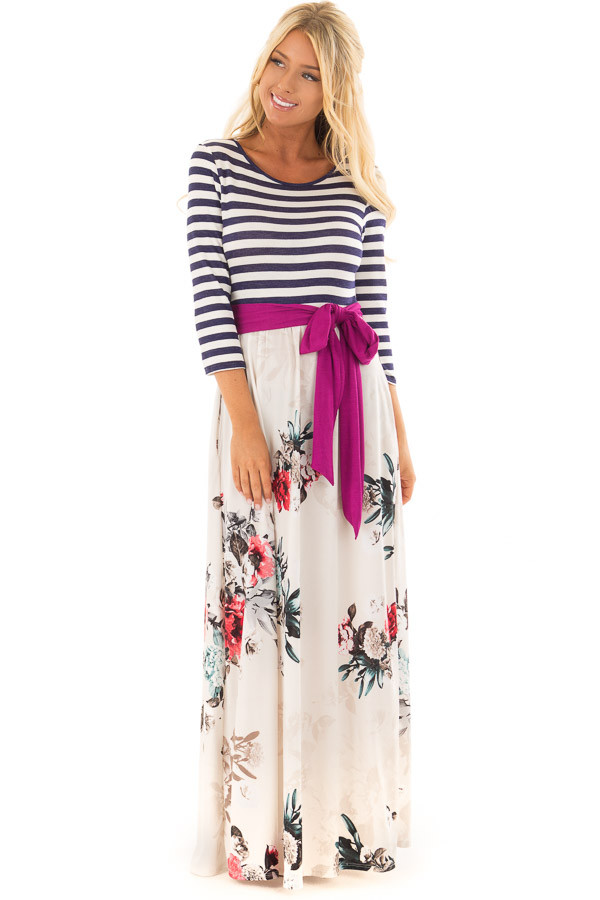 Ivory Floral 3/4 Sleeve Maxi Dress with Navy Striped Top front full body