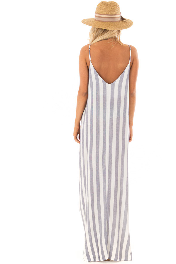 Navy and Off White Striped Maxi Dress with Pockets back full body