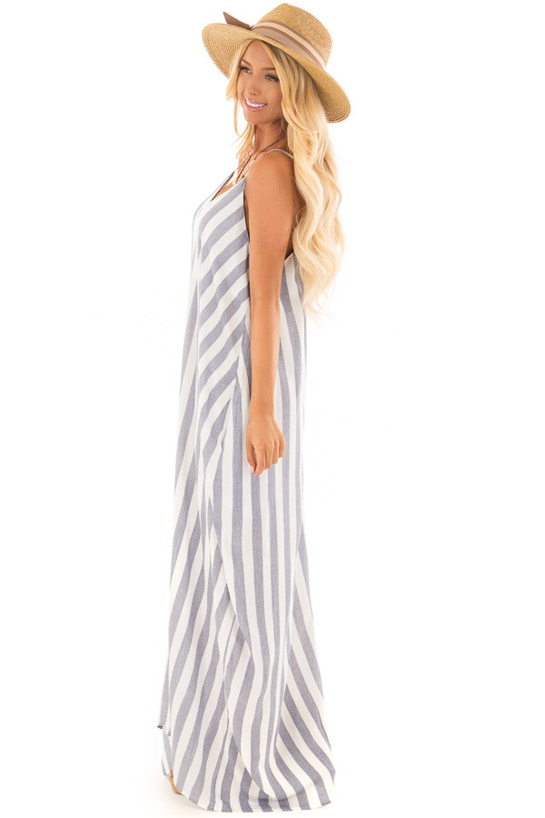 Navy and Off White Striped Maxi Dress with Pockets side full body
