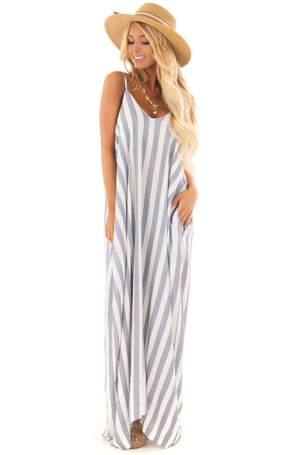 Navy and Off White Striped Maxi Dress with Pockets front full body