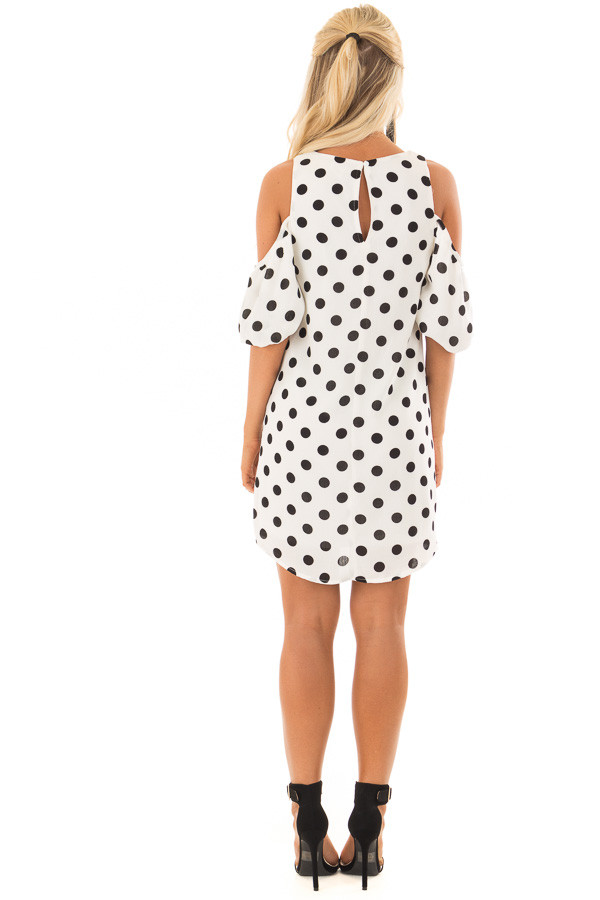 Black and White Polka Dot Open Shoulder Dress back full body