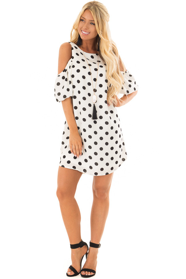 Black and White Polka Dot Open Shoulder Dress front full body