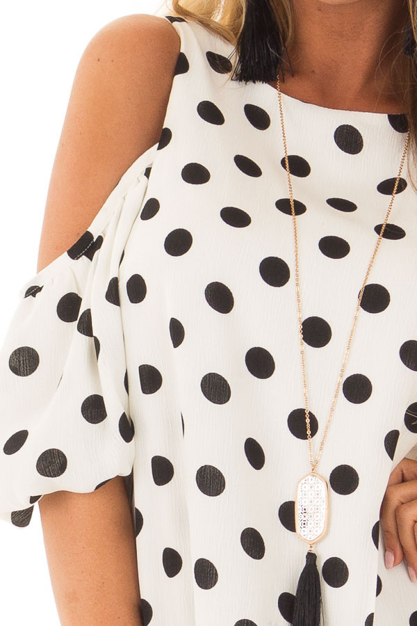 Black and White Polka Dot Open Shoulder Dress front detail