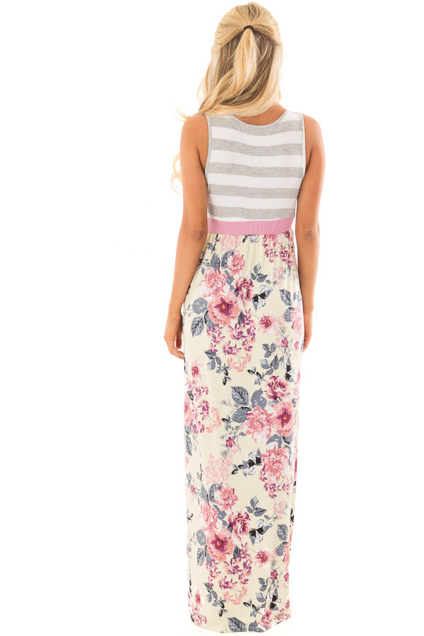 Cream Floral Print Maxi Dress with Hidden Pockets back full body