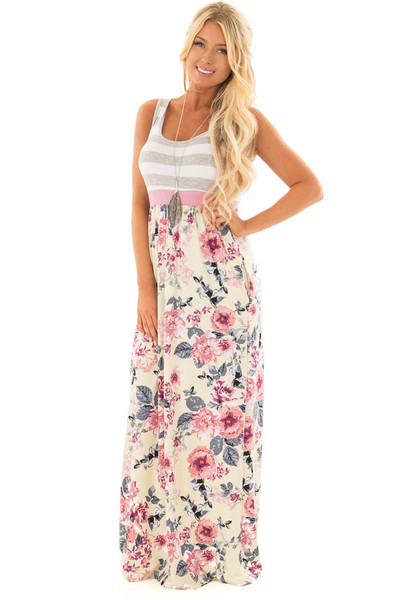 Cream Floral Print Maxi Dress with Hidden Pockets front full body
