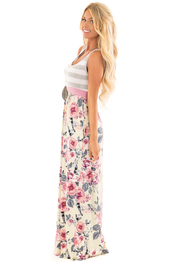 Cream Floral Print Maxi Dress with Hidden Pockets side full body