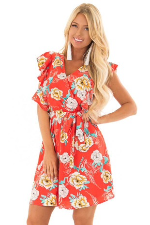 Tomato Red Floral Print Ruffle Dress with Waist Tie front closeup