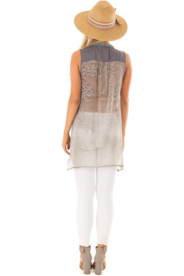 Charcoal Embroidered Tank Top with Sheer Patterned Back back full body