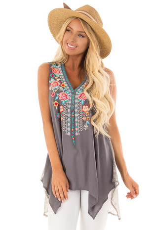 Charcoal Embroidered Tank Top with Sheer Patterned Back front closeup