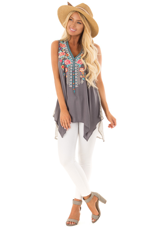 Charcoal Embroidered Tank Top with Sheer Patterned Back front full body