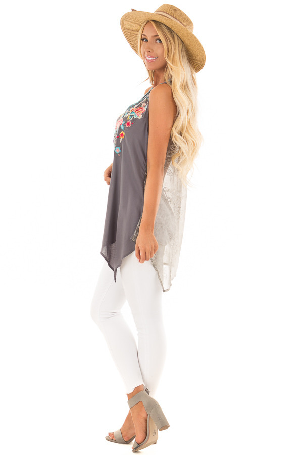 Charcoal Embroidered Tank Top with Sheer Patterned Back side full body