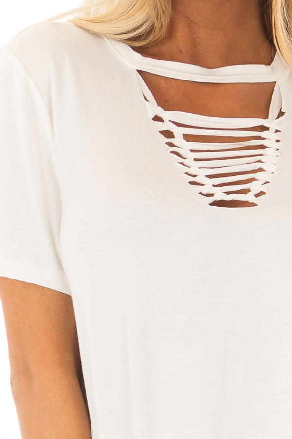Ivory Short Sleeve Tee with Knotted Cut Out Detail front detail