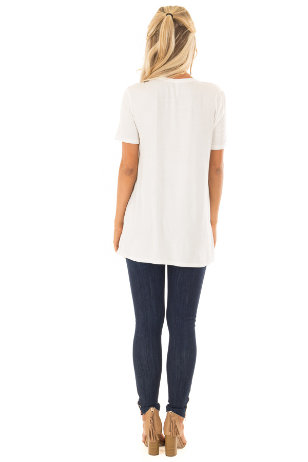 Ivory Short Sleeve Tee with Knotted Cut Out Detail back full body