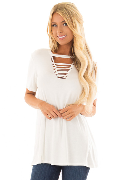 Ivory Short Sleeve Tee with Knotted Cut Out Detail front closeup